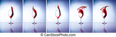 Collage of wine glasses, beautiful five glasses with...