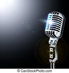 Microphone In Spotlight - Shiny Vintage Microphone In...