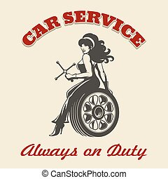 Car Service Retro Poster - Beautiful girl mechanic sitting...