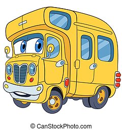 cute cartoon school bus - cute and funny childish cartoon...