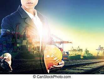 professional working man in shipping port and logistic transportation industry multi exposure