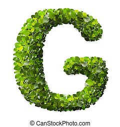 Letter G made of green leaves isolated on white
