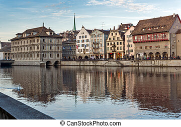 Zurich and Limmat River - Panoramic view of city of Zurich...