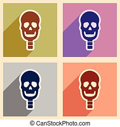 Set flat icons with long shadow human skull