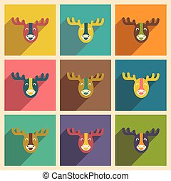 Set of flat icons with long shadow Canadian moose