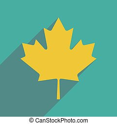 flat icon with long shadow Maple Leaf