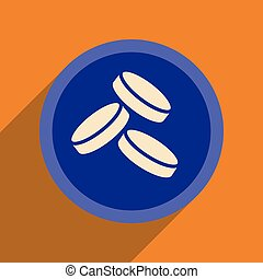 Flat web icon with long shadow coins