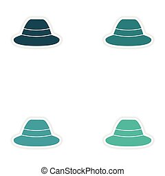 Set of paper stickers on white background hat