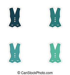 concept stylish paper sticker on white background vest