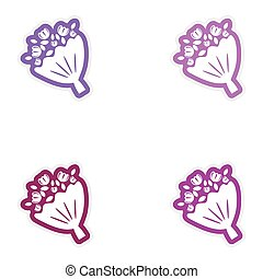Set of paper stickers on white background bridal bouquet