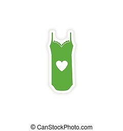 stylish paper sticker on white background nightdress