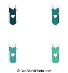 concept stylish paper sticker on white background nightdress...