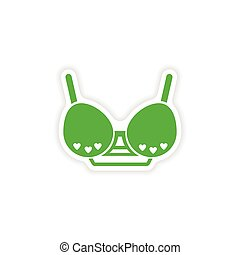 stylish paper sticker on white background brassiere