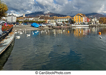 Panoramic view of Vevey, canton of Vaud, Switzerland