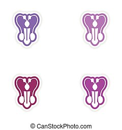 Set of paper stickers on white background penis