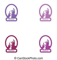 Set of paper stickers on white background Sebastian Bach