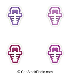 Set of paper stickers on white background false tooth
