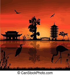 Beautiful asian landscape near water on sunset, vector...