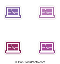 Set paper stickers on white background ECG machine
