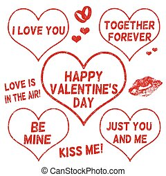 Valentines Day stamps set - Collection of Valentines Day...