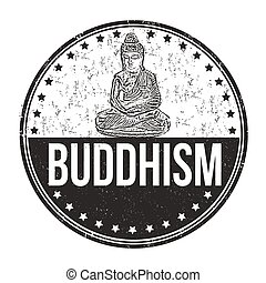 Buddhism grunge stamp - Buddhism grunge rubber stamp on...