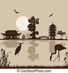 Beautiful asian landscape near water on retro style...