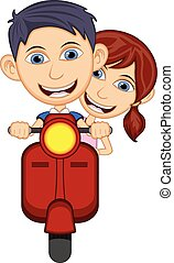 Children riding a scooter cartoon
