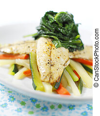 mackerel fish cooked - cooked mackerel fish meal with...