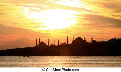 4K Time Lapse of Istanbul - Sarayburnu at sunset in...