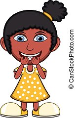 Little girl laughing cartoon vector