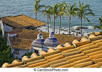 Roofs by the Pacific Ocean coast