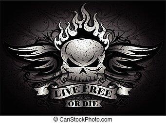 Live Free or Die - Skull Design - Live Free or Die: Tribal /...