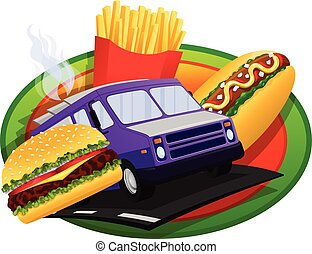 Food Truck concept design with Burger, Hot Dog French Fries...