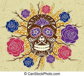 Sugar Skull with Roses & Grunge Background