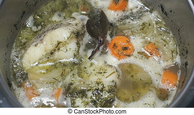 Cooking the Macrourus fish soup. Fish soup is cooked. The...