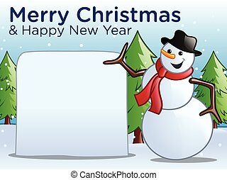 Merry Christmas & Happy New Year! with Snowman, Copyspace,...