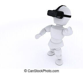 Man with VR Headset - 3D Render of Man with VR Headset
