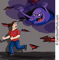 Inner Demons - Man running away from fear terror in his mind...