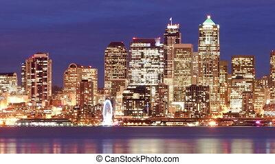Downtown Seattle Skyline Elliott Bay Puget Sound Office...