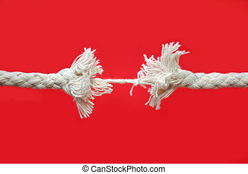 Breaking rope - Rope gradually breaking into two pieces