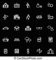 Retirement community line icons on black background, stock...