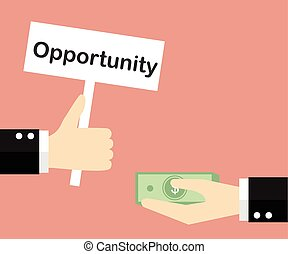 Giving opportunity business concept