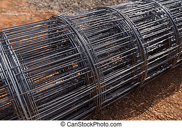 roll of wire mesh on construction site