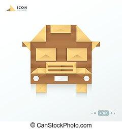 School Bus origami icon  paper design