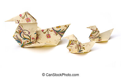 Origami Ducks - Origami ducks isolated on white background...