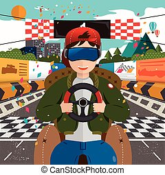 virtual reality concept - virtual reality - racing indoor in...