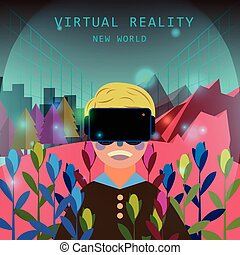 virtual reality experience in flat design style
