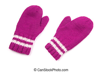Purple mittens with white stripe on wrist over white