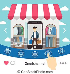 omni-channel shopping experience design in flat style