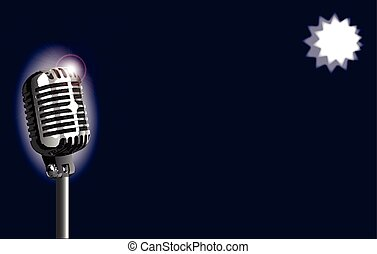 Karaoke Stage Night - A stage microphone set on a blue...